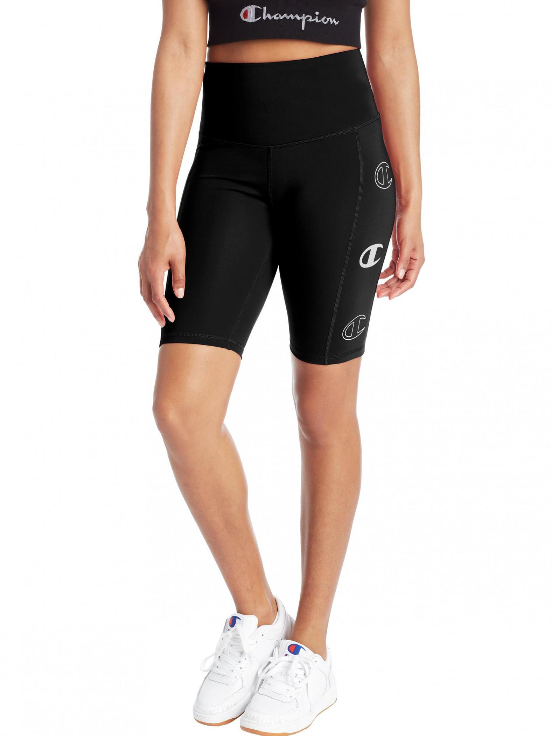 sport bike shorts triple c logos black champion womens shorts